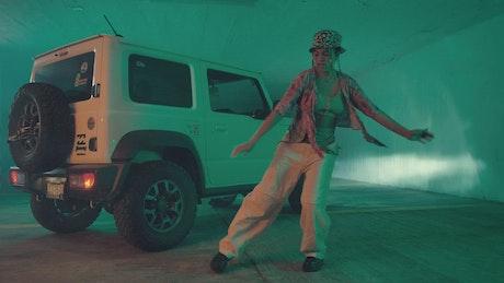 Urban fashion girl dancing