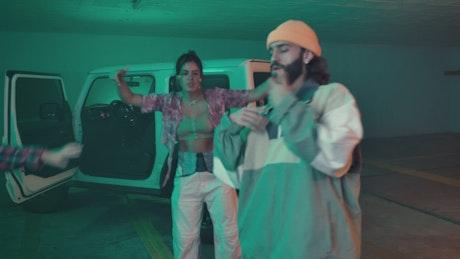 Urban friends dancing hiphop