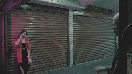 Urban girls in a closed market