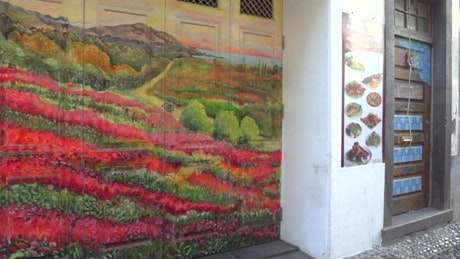 Urban mural on the gates of a place