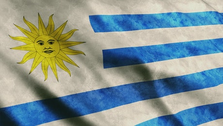 Uruguay dirty flag, close up