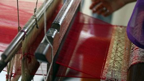 Using a weaving machine
