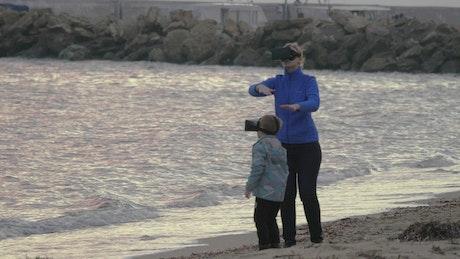 Using VR at the seashore