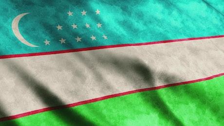 Uzbekistan flag, 3D render animation