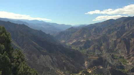 Valleys and mountainous range landscape