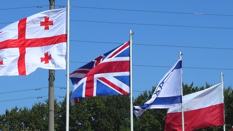 Various flags in the wind