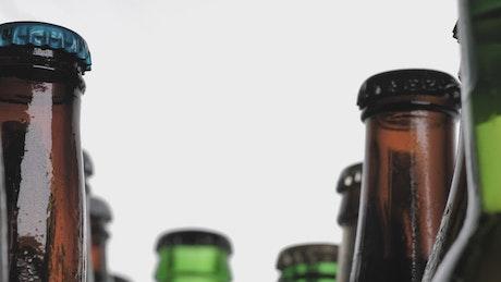 Various glass bottles viewed in detail