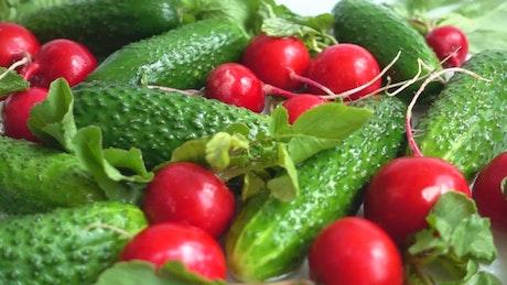 Vegetables being washed