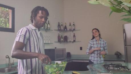 Vegetarian couple preparing food
