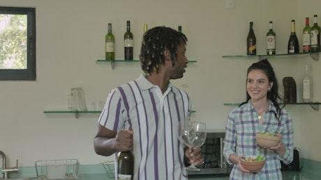Vegetarian couple preparing to eat