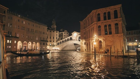 Venice central canal at night