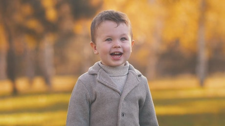 Very cheerful child smiling in the autumn park