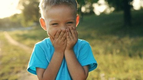 Very happy little boy, portrait