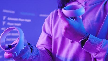 Video gamer using VR glasses