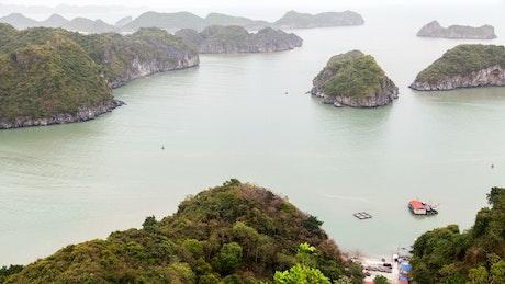 Vietnam bay landscape with boats