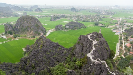 Vietnam mountain landscape and towns