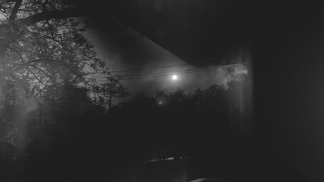 View from a window of the night outside