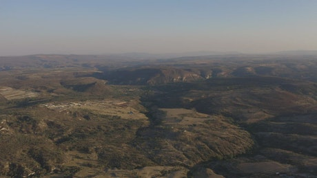 View from the air to an arid landscape
