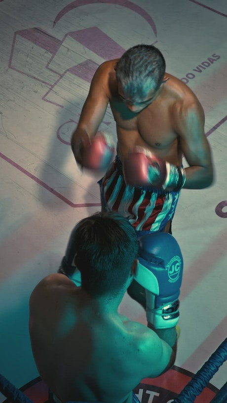 View from the top of a boxing match on a ring