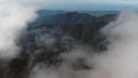 View of a green mountain range
