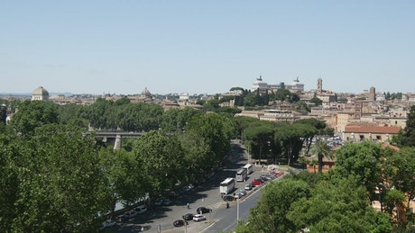 View of a Street and the city of Rome