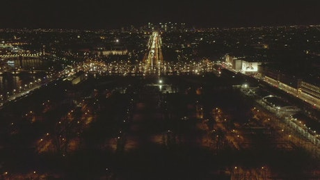 View of Paris at night, aerial front shot