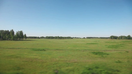 View of the countryside from the train