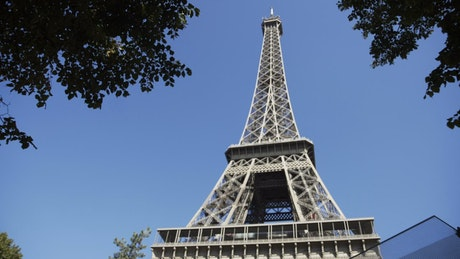 View of the Eiffel tower and the blue sky