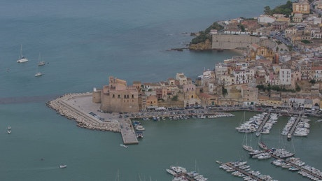 View of the marina and the port of an Italian town