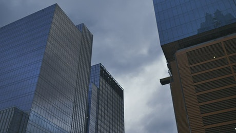 View to the tall buildings in the city from the ground