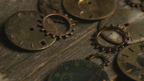Vintage clock gears on the table