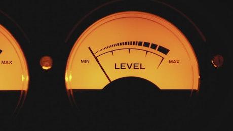 Vintage dial indicators of sound levels