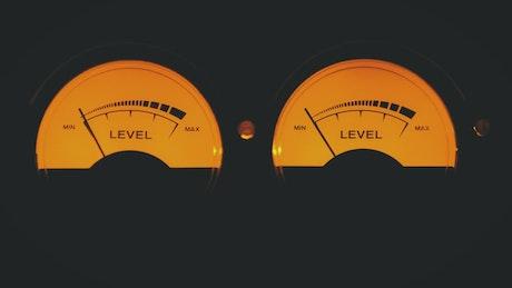 Vintage volume level indicators