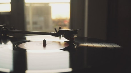 Vinyl record spinning on a turntable