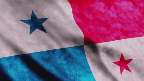 Virtual Panamanian flag in 3D waving