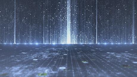 Virtual world of digital information in motion