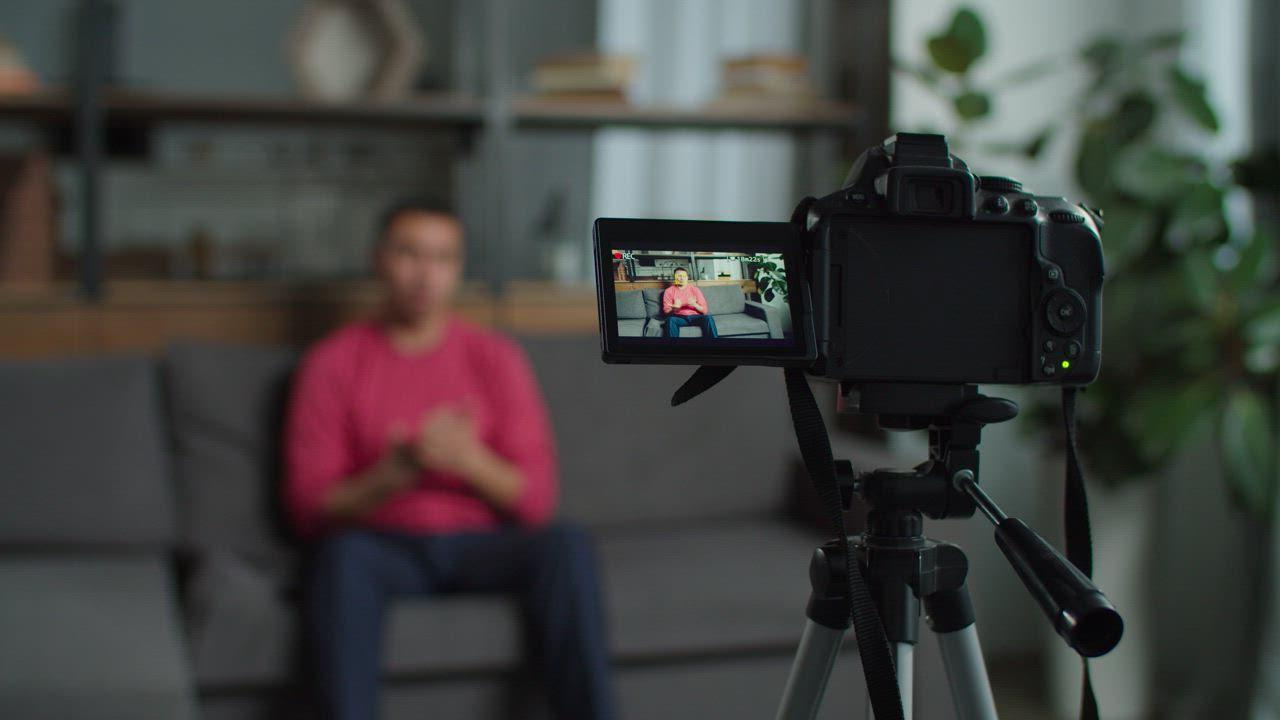 Vlogger recording in sign language - Free Stock Video - Mixkit