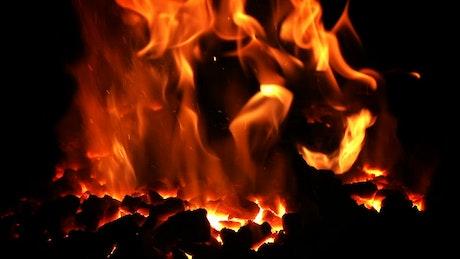 Volcanic fire burning in the dark