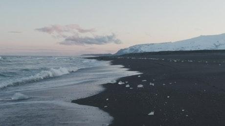Volcanic sand beach