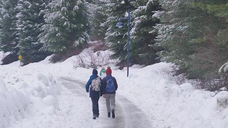 Walking on a snowy path in Canada