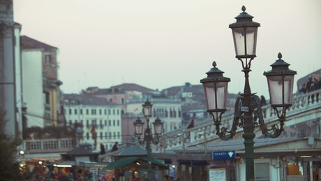 Walking over a bridge in Venice