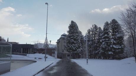 Walking through a snowy town