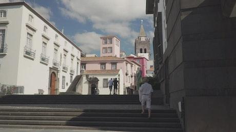 Walking through a town's pedestrian zone