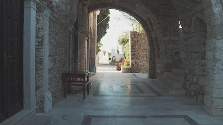 Walking through an ancient castle