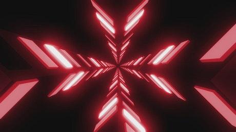 Walkthrough between red light plates in the dark