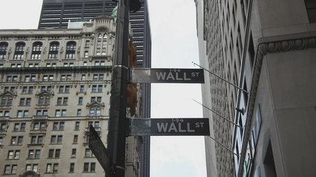 Wall Street signs in NYC