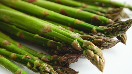 Washing Asparagus in the kitchen