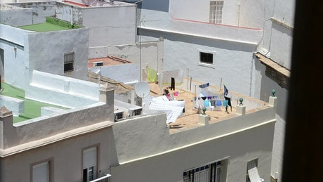 Washing lines on a rooftop