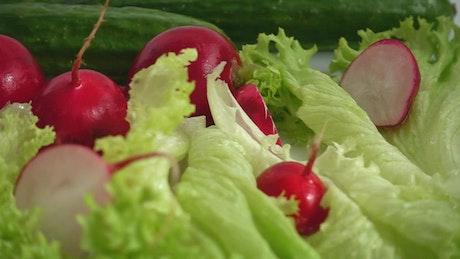 Washing salad ingredients