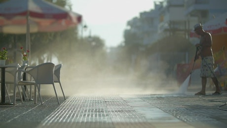 Washing the street